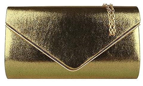Girly HandBags Metallic Frame Clutch Bag -- Gold