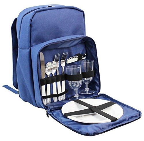 Lujosa mochila Hamper para picnic para dos personas, cubertería incluida y compartimento de refrigeración