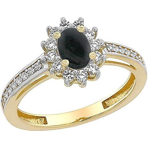 In oro giallo 14 k, colore: nero Onyx, Halo Anello ovale, 6 x 4 mm, con cristalli, misure J-T