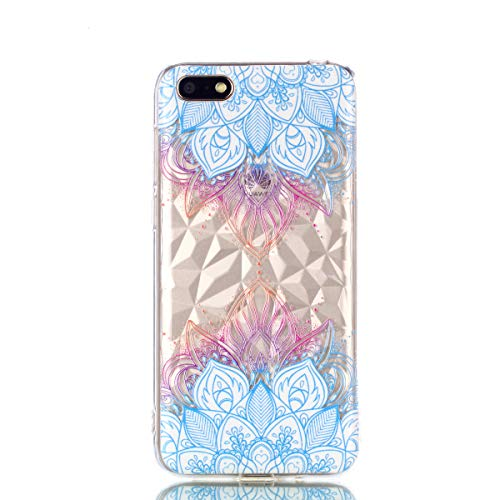 Candy House Huawei Y5 2018 Coque, Texture de Luxe Relief Souple Silicone  Clair TPU Protecteur Housse Etui Cover pour Huawei Y5 Prime 2018 / Honor 7S