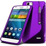 Fone-Case ( Purple ) Huawei Ascend G7 Case Brand New Luxury S Line Wave Gel Case Skin Cover With LCD Screen Protector Guard, Polishing Cloth & Mini Retractable Stylus Pen