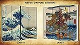 Separè Paravento Samurai | Divisorio Giapponese 4 ante Stampa Ukiyo-e