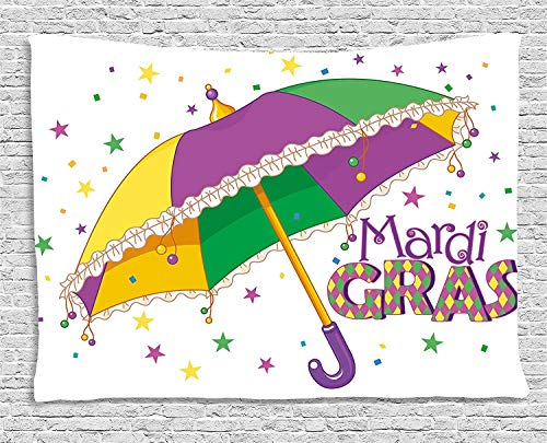 TRUIOKO Mardi Gras Tapiz, Parade Preparations Umbrella Stars Confetti Figures Joyful Fun Party, Wall Hanging for Bedroom Living Room Dorm Wall Tapiz Decor, 80 W X 60 L Inches