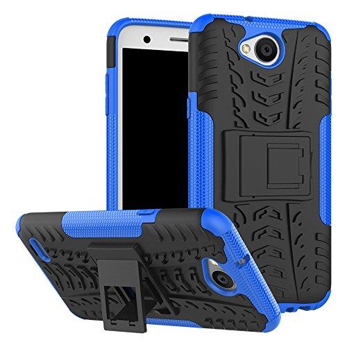 Hülle Für LG X Power2,Sunrive® Tasche Schutzhülle Etui Case Cover Hybride Silikon Stoßfest Handyhülle Hüllen Zwei-Schichte Armor Design Tasche mit schlagfesten mit Ständer Slim Fall(blau)+Gratis Universal Eingabestift