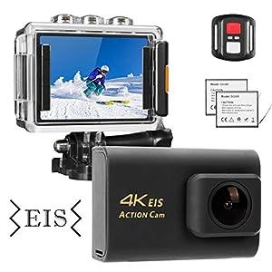 51kTZWmuAiL. SS300 NINE CUBE Action Camera 4K Ultra HD WiFi 20MP, Fotocamera Sportiva Impermeabile da 30M, Mic Esterno, grandangolo 170 °, 2.0''LCD, Telecomando 2.4G, EIS, 2 batterie Ricaricabili e Kit di Accessori