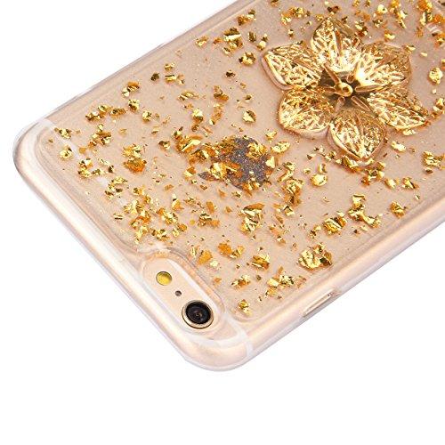 iPhone 6 Hülle,iPhone 6s Case,iPhone 6 Bling Case - Felfy Ultradünne Transparent Gel TPU Silikon Diamond Skin Bling Glitte Kristall Schutzfolie Glitzer Silber Silikon Crystal Case Durchsichtig Schutzh Golden Case Sechs Blütenblätter