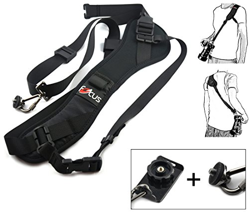 Focus F-1 DSRL SLR Schultergurt DEUTSCHER HÄNDLER INKL 1x Montageplatte UND 1x Adapterschraube (NEUES MODELL mit überarbeitetem Gurt) 1/4 Zoll Adapterplatte schwarz, Kameragurt für schonenden und sicheren Tragekomfort ergonomisch geformt passt er sich perfekt der Schulter an von Mind-Care-Essentials