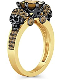 Silvernshine 2ct Round Cut Citrin Simulated Diamonds 18K Yellow Gold Plated Crown Two Skull Ring