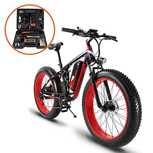 Extrbici XF800 1000W 48V 13AH Bicicleta eléctrica 26 'Marco de aleación de aluminio Suspensión completa Fat Bike Cruiser 7 Velocidades...