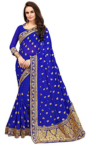 Saree Center Georgette Saree With Blouse Piece (Sc_Bluevely_Blue_Free Size)
