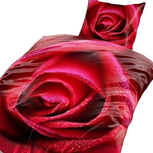 4 tlg. Bettwäsche Rose 135 x 200 cm in rot aus Microfaser (Premiumdruck) (Komfort Bettwäsche Kissenbezüge)