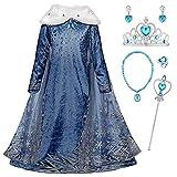 YOSICIL Niñas Cosplay Vestido de Princesa Elsa con Capa Vestido de Frozen Manga Larga Vestido Largo...
