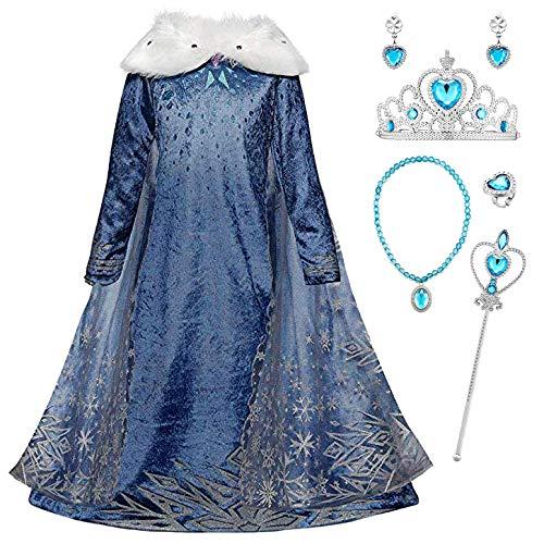YOSICIL Niñas Cosplay Vestido Princesa Elsa Capa