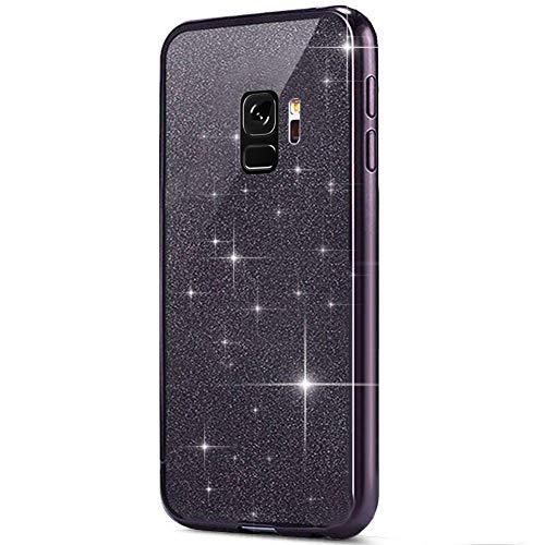 MoreChioce kompatibel mit Samsung Galaxy S9 Hülle,kompatibel mit Galaxy S9 Hülle Silikon Glitzer, 2 in 1 Schwarz Bling Strass Paillette Weich TPU Flexible Gel Chrom Handyhülle Kratzfeste Bumper Flexible Gelee