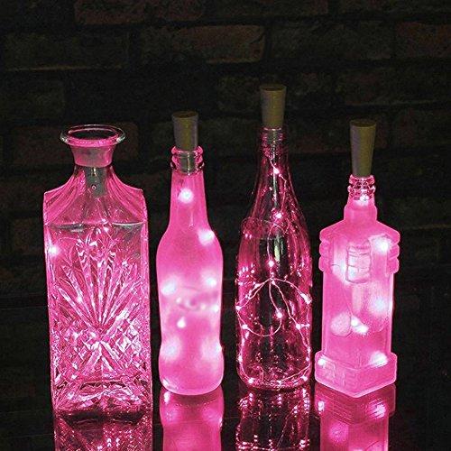 Aaa226 15/20luci led tappo bottiglia argento filo a batteria luci stringa, pink, 1,5 m