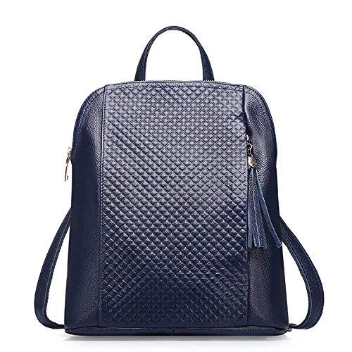 Willsego Frauen Rhombic Echtes Leder Rucksack Large-Capacity Rucksack Reisetasche Dual-Use-Umhängetasche Handtasche (Farbe : Dunkelblau, Größe : -)