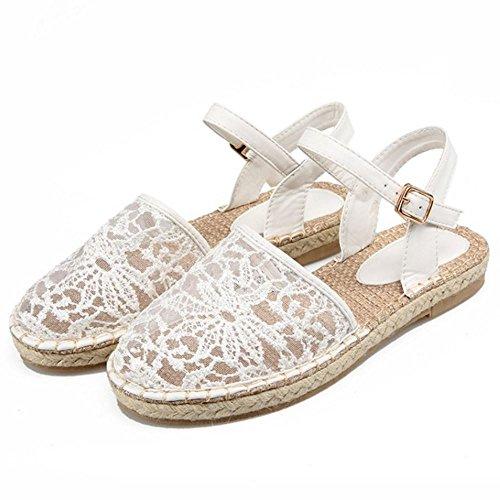 COOLCEPT Femme Mode Sangle de Cheville Sandales Bout Ferme Boucle Chaussures Blanc