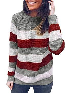 JYC Jersey para Mujer,Suéter Suelto Jumper Tops de Punto,Mujer Redondo Cuello A Rayas De puntoSuéter Saltador...