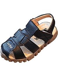 Topgrowth Sandali Bambino Ragazzo Ragazza Cuoio Suola Morbida Sneaker Casual Spiaggia Chiusa Sandali Unisex per Bambini (23, Bianco)