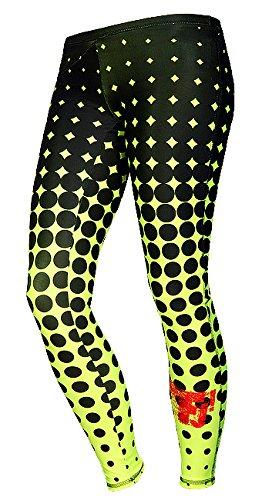 FeelJ! Damen Leggins Dots lime, Black/Lime, L, FJ5902349671635