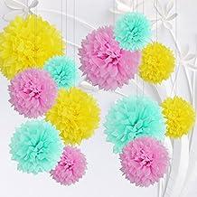 12 Piezas Pompones de Papel de Seda Amarillo Verde Menta Rosa Claro, Bola de Flor Papel Decoración de Boda Cumpleaños Fiestas Navidad Baby Shower