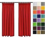 Rollmayer 2er Pack Vorhänge mit Bleistift Kollektion Vivid (Rot 12, 135x175 cm - BxH) Blickdicht Uni einfarbig Gardinen Schal für Schlafzimmer Kinderzimmer Wohnzimmer 2 Stück
