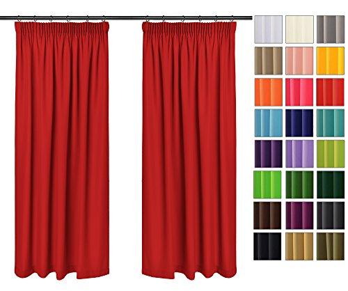 orhänge mit Bleistift Kollektion Vivid (Rot 12, 135x150 cm - BxH) Blickdicht Uni einfarbig Gardinen Schal für Schlafzimmer Kinderzimmer Wohnzimmer 2 Stück ()