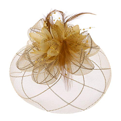 Manyo Womens Barrette Fascinator Blume Pillbox Hut Perlen Feder Haarspange Hochzeit (Beige)