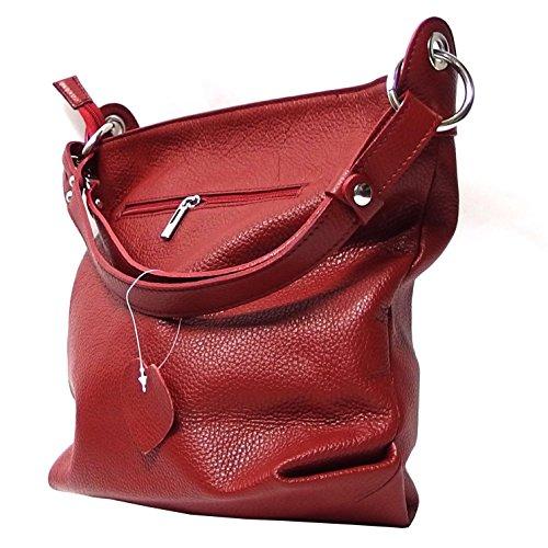 Ital Echt Leder Damentasche Handtasche Shopper Schultertasche (grün) weinrot