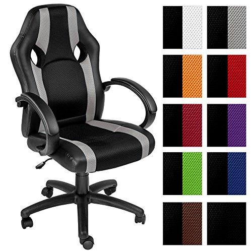 tectake chaise de bureau fauteuil si ge racing sport tissu diverses couleurs au choix gris. Black Bedroom Furniture Sets. Home Design Ideas
