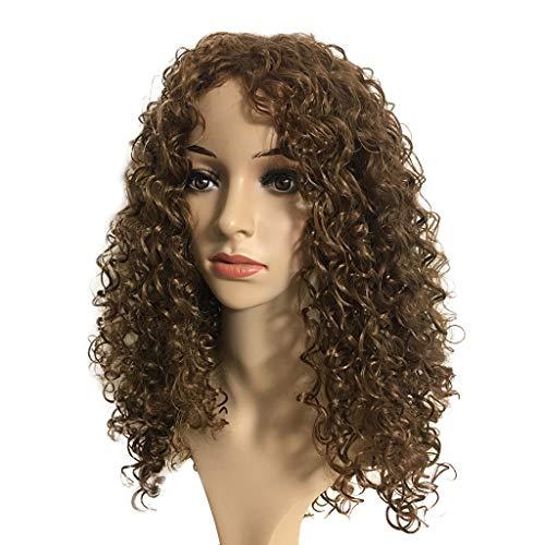 Perruque Synthétique Brune Longues Bouclées Ondulées Perruques Naturelles Pour Africaine Femmes tresse