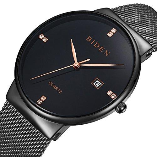 Orologio uomo acciaio nero orologio da polso al quarzo ultra sottile nero e oro design - Orologi da polso design ...