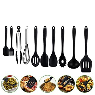 [New Arrival]Aibesser Silicone Kitchen Utensils Set,Cooking Utensils Set 10 Pcs,Heat Resistant and Nonstick Cooking Gadgets Tool,Silicone Spoon, Whisk, Black