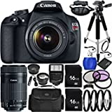 Best Selling Canon EOS Rebel T5 DSLR Camera Bundle with 18-55mm f/3.5-5.6 IS II Lens, EF-S 55-250mm f/4-5.6 IS STM Lens, Carrying Case and Accessory Kit (21 Items) be sure to Order Now