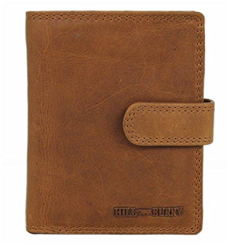 Hill Burry Herren Echt-Leder Geldbörse Portemonnaie Brieftasche Portmonee Geldbeutel Kredit-Kartenetui Wallet Vintage Organizer Reisebrieftasche aus hochwertigem Leder braun LGHB6401L (Wallet Damen-organizer)