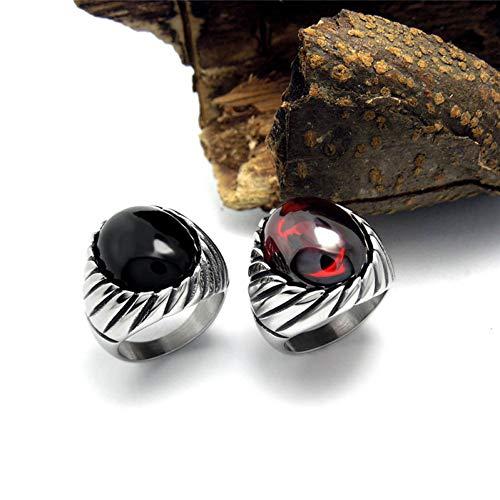 JIEZHI Ring Vintage Schwarz Rot Fingerring Mode Edlen Luxus Elegante Charme Stahl Ring Männer