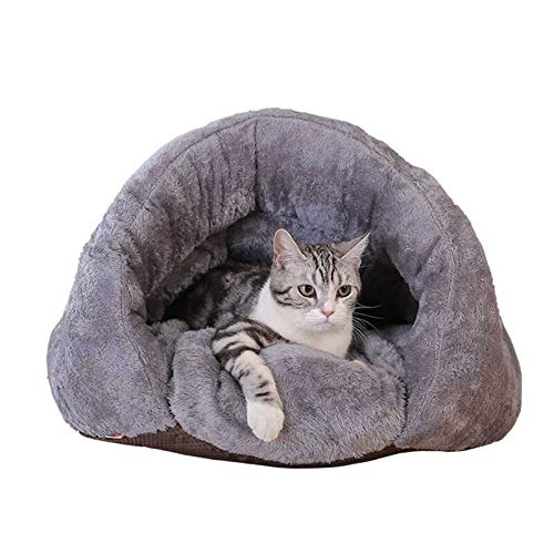 FRISTONE Katzenhöhle Katzenhaus mit einen Katzenkissen Warm Schlafsack zum Schlafen für kleine Katzen Hunde Welpen Chihuahua zubehör Grau