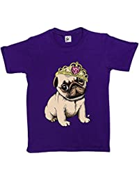 Fancy A Snuggle Princess Pug Puppy Wearing Tiara With Big Gem Kids Girls T-Shirt
