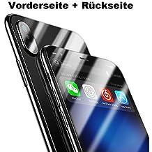 Schmutz und Fingerabdr/ücke Trade-Shop 3D Panzerglas f/ür Apple iPhone X//XS R/ückseite Schwarz undurchsichtig 9H Echtglas Panzerfolie gegen Kratzer