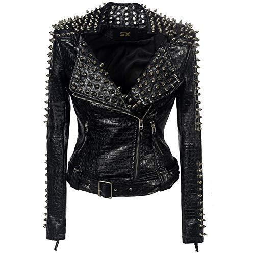 Preisvergleich Produktbild GWDYE Damen Lederjacke Mantel,  Metall Fringe Revers Motorrad / Motorrad-Stil PU Lederjacke in schwarz,  Design von Hand kurzen Absatz groß, XXL