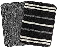 Saral Home Striped Bath Mat (Black, Microfiber, 35X50 CM), Set of 2