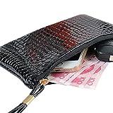 Subfamily Geldklammer, Frauen Krokodilleder Clutch Handtasche Tasche Münze Geldbörse Geldtasche (Schwarz)
