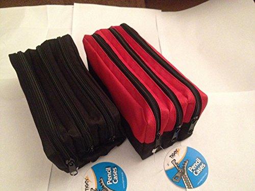 Triplo tasca zip rettangolare grande tessuto Astuccio-(Nero),