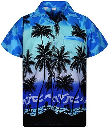 V.H.O. Funky Camisa Hawaiana, Beach, Mono Azul, XL
