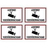 """4 Stück Aufkleber """"Achtung Videoüberwachung"""" [10,5x7,5cm] Kratz- und wetterfest"""