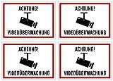 """KAVARO Aufkleber """"Achtung Videoüberwachung"""" 4 Stück Kratz- und Wetterfest [10,5x7,5cm]"""