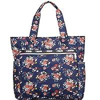 jsadfojas Women Shoulder Bag Large Capacity Zipper Floral Tote Shoulder Beach Bags Canvas Shopping Bag Travel Bag Floral Handbag for Women Girls Ladies (Blue bottom floral, ONE SIZE)