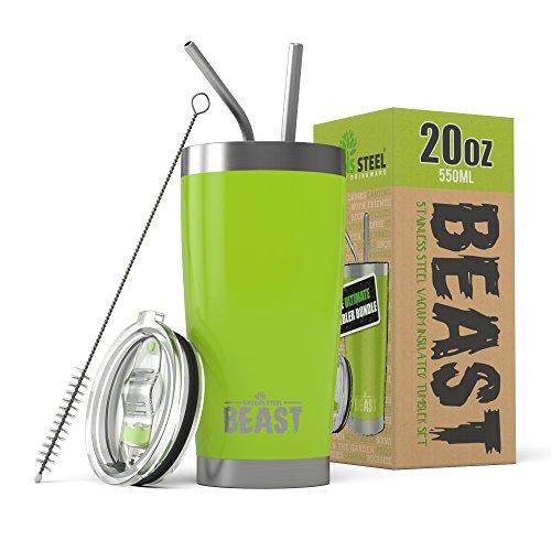 BEAST Edelstahl Becher Vakuumisolierte Tasse Kaffeebecher Doppelwandige Reiseflasche Thermobecher mit Spritzfestem Deckel, Paket mit 2 Strohhalmen, Rohrbürste & Geschenkbox (20oz, Zitronengras Grün)
