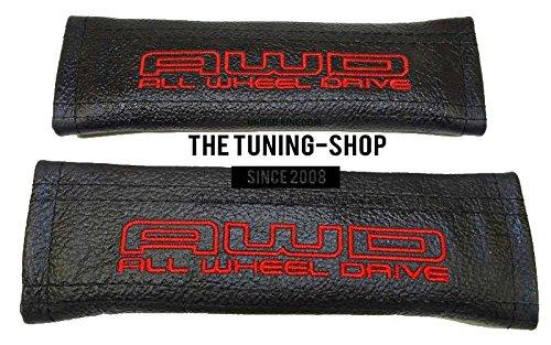 2x cintura cover imbottito spalla in pelle nero rosso tutte le ruote motrici Edition per (Mazda 6 Oem Sostituzione)
