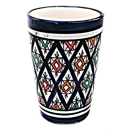 Becher im Orientalischen Stil - Material: Keramik - D8cm / H11cm - Blau - Handbemalt - Hochwertige Verarbeitung